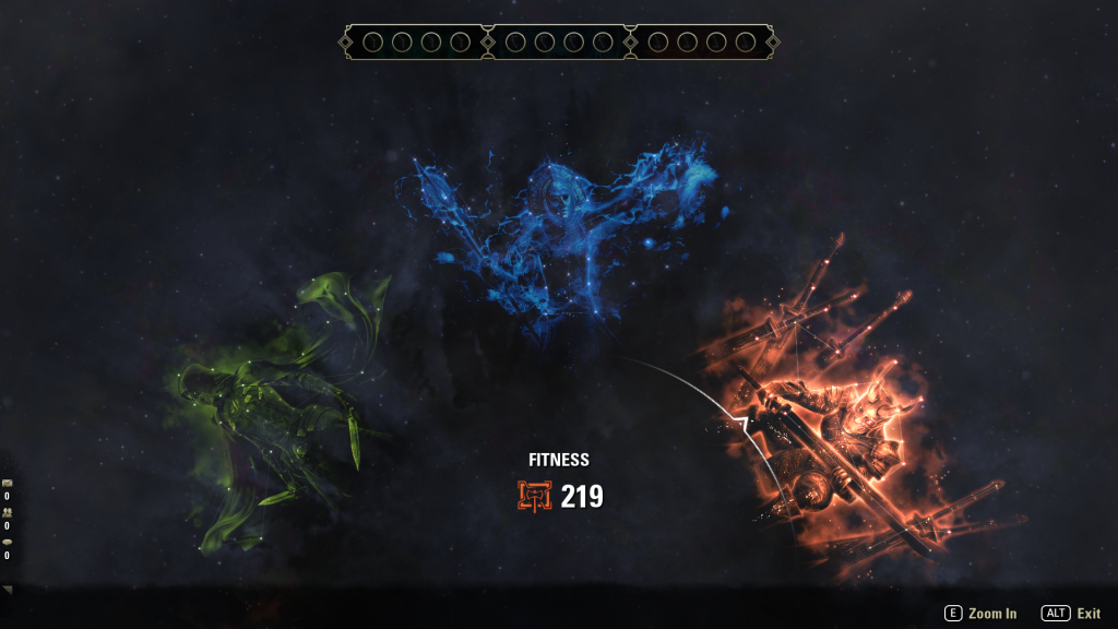 The three constellations: Craft in green on the left, Warfare in blue in the middle, Fitness in red on the right.