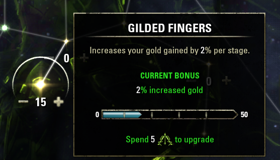 The Guilded Fingers perk currently has a 2% bonus and requires 5 Champion Points to upgrade to the next stage.